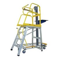 60kg Rated Stockmaster Mobile Order Picker Ladder Lift Truk - Manual - 2m