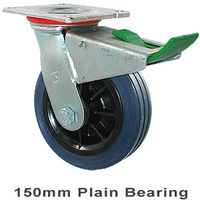 230kg Rated Industrial Hi Resilience Castor - Rubber Tyre - 150mm - Plate Direction Lock - Plain Bearing - NA