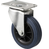 230kg Rated Industrial Hi Resilience Castor - Rubber Tyre - 150mm - Plate Swivel - Plain Bearing - ISO