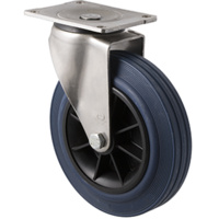 250kg Rated Industrial Stainless Steel Hi Resilience Castor - Rubber Tyre - 200mm - Plate Swivel - Plain Bearing - ISO