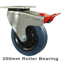 250kg Rated Industrial Hi Resilience Castor - Rubber Tyre - 200mm - Plate Brake - Roller Bearing - ISO