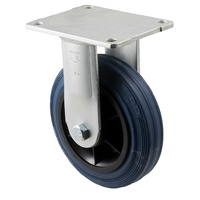 230kg Rated Industrial Stainless Steel Hi Resilience Castor - Rubber Tyre - 150mm - Plate Fixed - Roller Bearing - ISO