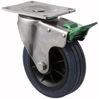 "Castor - ""O"" - Stainless Steel - 230kg - Hi Resilience Wheel - 150mm - Plate Direction Lock - Roller Bearing - ISO"