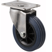 "Castor - ""O"" - Stainless Steel - 230kg - Hi Resilience Wheel - 150mm - Plate Swivel - Roller Bearing - NA"