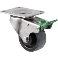 "Castor - ""O"" - Stainless Steel - 300kg - Polyurethane on Nylon Wheel - 100mm - Plate Direction Lock - Plain Bearing - NA"