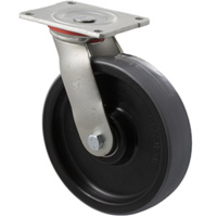 "Castor - ""H"" Series - 500kg - Polyurethane Wheel - 200mm - Plate Swivel - Plain Bearing - NA"