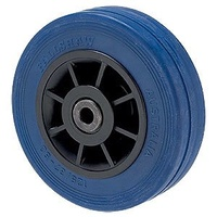 180kg Rated Blue Rubber Flat Wheel - 125 x 32mm - Roller Bearing