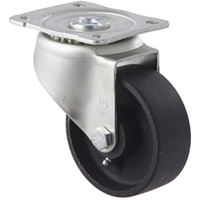 230kg Rated High Low Temp Cast Iron Castor - 100mm - Plate Swivel - 200°C to 400°C