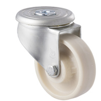 100kg Rated Low Temp Castor - Nylon Wheel - 100mm - Bolt Hole Swivel