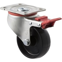 300KG Industrial Castors - Nylon Wheel - 100mm - Plate Brake - Plain Bearing