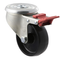 300KG Industrial Castors - Nylon Wheel - 100mm - Bolt Hole Brake - Roller Bearing