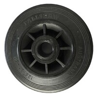 100kg Rated Black Rubber Wheel - 125 x 35mm - Plain Bearing