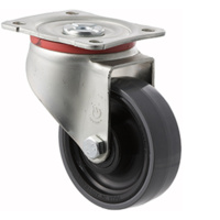 300kg Rated Industrial Castors - Polyurethene Wheel - 100mm - Plate Swivel - Plain Bearing