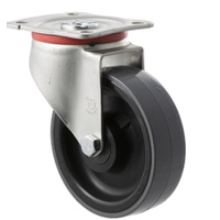 300KG Industrial Castors - Polyurethene Wheel - 125mm - Plate Swivel - Roller Bearing