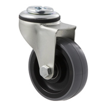 100kg Rated Industrial Castor - Polyurethane Wheel - 75mm - Bolt Hole Swivel - Ball Bearing