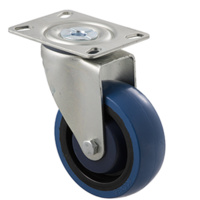 140kg Rated Industrial High Resilience Castor - Rubber Wheel - 100mm - Plate Swivel - Ball Bearing - NA