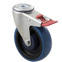 150kg Rated Industrial High Resilience Castor - Rubber Wheel- 125mm - Bolt Hole Brake - Ball Bearing