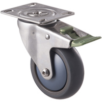 85kg Rated Stainless Steel Heavy Duty Castor - TPE Wheel - 100mm - Plate Direction Lock - Ball Bearing - ISO