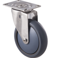 85KG Stainless Steel Heavy Duty Castor - TPE Wheel - 125mm - Plate Swivel - Ball Bearing - ISO