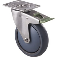 85kg Rated Stainless Steel Heavy Duty Castor - TPE Wheel - 125mm - Plate Direction Lock - Ball Bearing - ISO