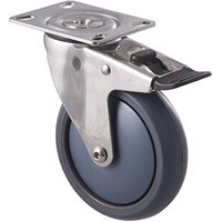 85kg Rated Stainless Steel Heavy Duty Castor - TPE Wheel - 125mm - Plate Brake - Ball Bearing - ISO