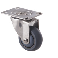 85kg Rated Stainless Steel Heavy Duty Castor - TPE Wheel - 75mm - Plate Swivel - Ball Bearing - ISO