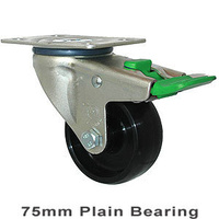 150KG Industrial Castor - Nylon Wheel - 75mm - Plate Directional Lock - Plain Bearing - ISO
