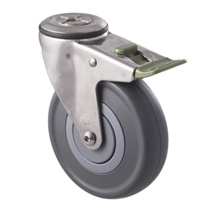 150kg Rated Stainless Steel Heavy Duty Castor - Grey Rubber Wheel - 125mm - Bolt Hole Directional Lock- Plain Bearing