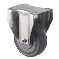 140kg Rated Stainless Steel Heavy Duty Castor - Grey Rubber Wheel - 100mm - Plate Fixed - Ball Bearing - ISO