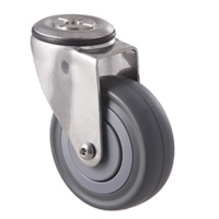 140kg Rated Stainless Steel Heavy Duty Castor - Grey Rubber Wheel - 100mm - Bolt Hole Swivel- Ball Bearing
