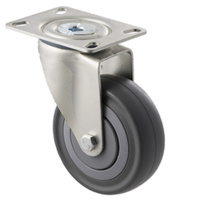 140KG Industrial Castor - Grey Rubber Wheel - 100mm - Plate Swivel - Ball Bearing - ISO