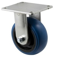 350KG Industrial Hi Resilience Castor - Rubber Wheel- 125mm - Plate Fixed - Ball Bearing - NA