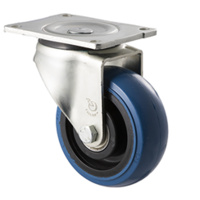 "Castor - ""O"" Series - 350kg - Hi Resilience Wheel - 125mm - Plate Swivel - Ball Bearing - ISO"