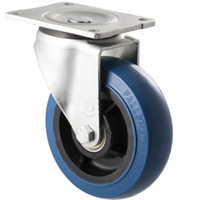 400kg Rated Industrial Hi Resilience Castor - Rubber Wheel - 150mm - Plate Swivel - Ball Bearing - NA