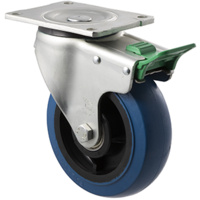 "Castor - ""O"" Series - 400kg - Hi Resilience Wheel - 150mm - Plate Direction Lock - Ball Bearing - NA"
