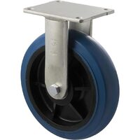 400kg Rated Industrial Hi Resilience Castor - Rubber Wheel - 200mm - Plate Fixed - Ball Bearing - ISO