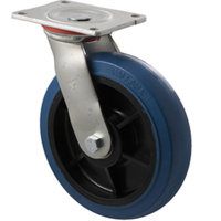400kg Rated Industrial Hi Resilience Castor - Rubber Wheel - 200mm - Plate Swivel - Ball Bearing - NA