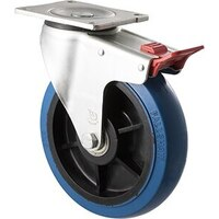 400kg Rated Industrial Hi Resilience Castor - Rubber Wheel - 200mm - Plate Brake - Ball Bearing - NA