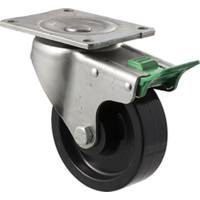 "Castor - ""O"" Series - 400kg - Nylon Wheel - 125mm - Plate Direction Lock - Plain Bearing - ISO"