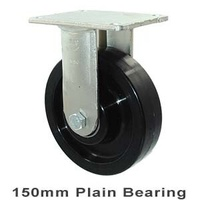 "Castor - ""O"" Series - 450kg - Nylon Wheel - 150mm - Plate Fixed - Plain Bearing - ISO"