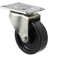 "Castor - ""O"" Series - 400kg - Nylon Wheel - 125mm - Plate Swivel - Roller Bearing - ISO"