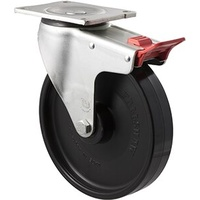 "Castor - ""O"" Series - 450kg - Nylon Wheel - 200mm - Plate Brake - Roller Bearing - ISO"