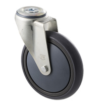 "Castor - ""Big M"" - 200kg - Grey Rubber Wheel - 150mm - Bolt Hole Swivel - Plain Bearing"