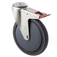 "Castor - ""Big M"" - 200kg - Grey Rubber Wheel - 175mm - Bolt Hole Brake - Plain Bearing"