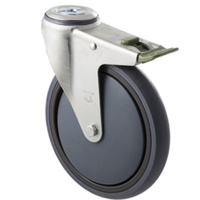 "Castor - ""Big M"" - 200kg - Grey Rubber Wheel - 175mm - Bolt Hole Directional Lock - Plain Bearing"