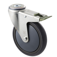 "Castor - ""Big M"" - 200kg - Grey Rubber Wheel - 150mm - Bolt Hole Directional Lock - Ball Bearing"