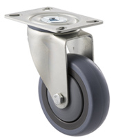 100KG Industrial Castor - Grey Rubber Wheel - 100mm - Plate Swivel - Ball Bearing - NA