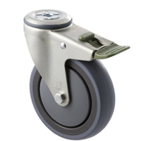 100KG Industrial Castor - Grey Rubber Wheel - 125mm - Bolt Hole Directional Lock - Ball Bearing