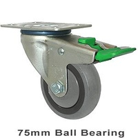 100KG Industrial Castor - Grey Rubber Wheel -  75mm - Plate Directional Lock - Ball Bearing - ISO