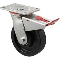 600kg Rated Industrial Castor - Nylon Wheel - 150mm - Plate Brake - Ball Bearing - ISO